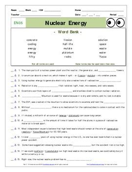 Bill Nye The Science Energy Worksheet Answers