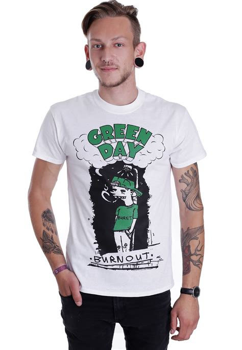 T Shirts Green Day Gdy05 green day burnout white t shirt official alternative
