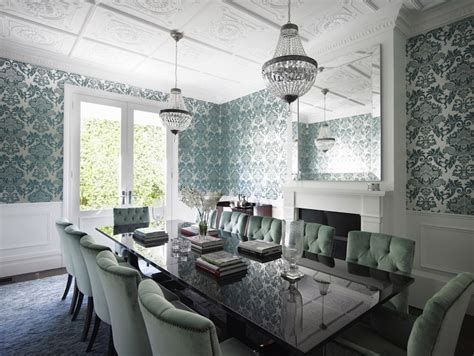 teal damask wallpaper transitional dining room denai