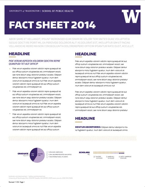 facts template fact sheet uw brand