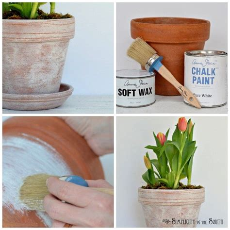 how to age terracotta pots with a mixture of sloan chalk paint and wax terracotta pots