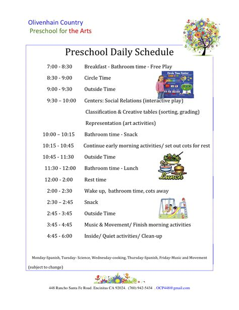 child care daily routine template preschool daily schedule olivenhain country preschool