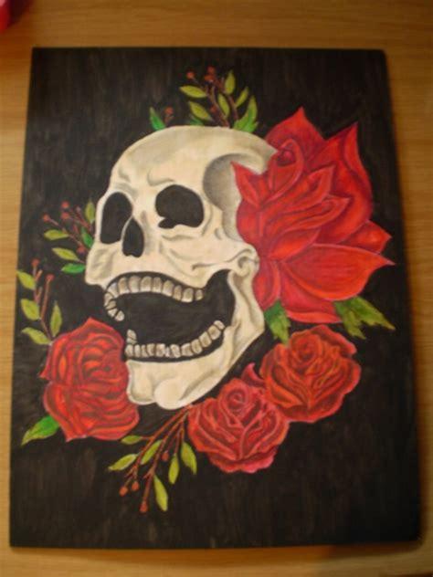 flower skull painting skull and flower painting by chrissyandoreo on deviantart
