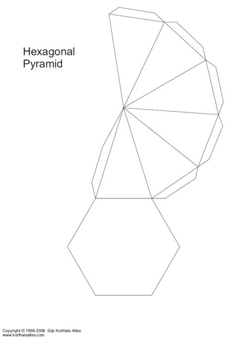 How To Make A Pentagonal Pyramid Out Of Paper - net hexagonal pyramid v2 paper craft