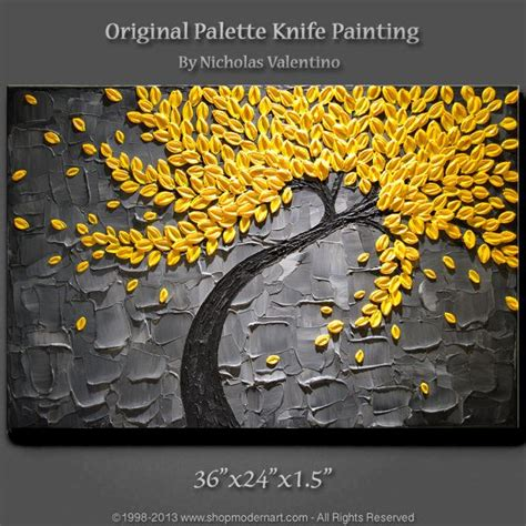 how to give acrylic paint on canvas texture large 36 quot x24 quot x1 5 quot original blossom tree painting yellow
