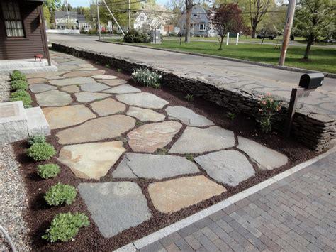Goshen Stone Entrance Farmhouse Landscape Boston by Natural Path Landscaping
