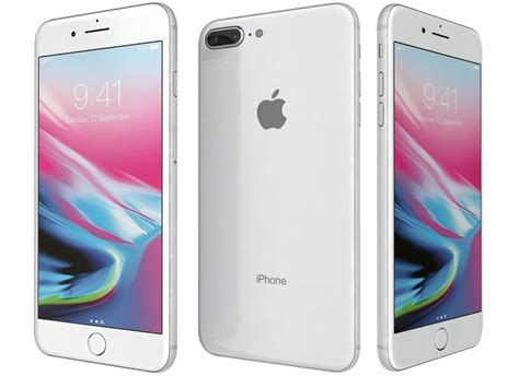 3d model apple iphone 8 plus silver cgtrader