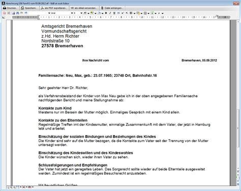 Schreiben Stellungnahme Muster Abrechnung Verfahrensbeistand Betreuung De