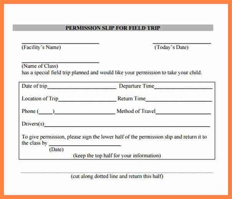 6 field trip permission slip salary slip