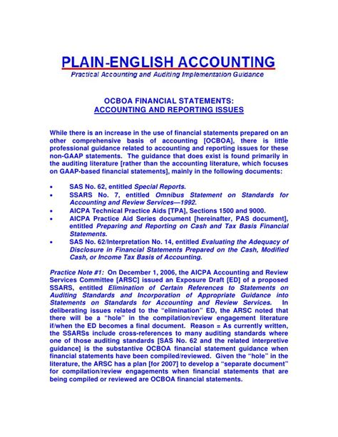 Ocboa Financial Statements Accounting And Reporting Issues Cpa Compilation Report Template