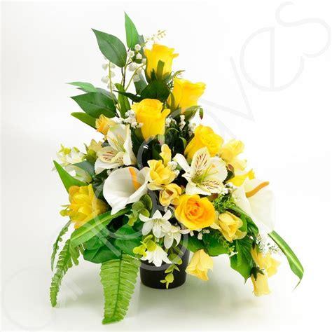 graveside silk flower arrangements lottie yellow rose calla lily artificial flower