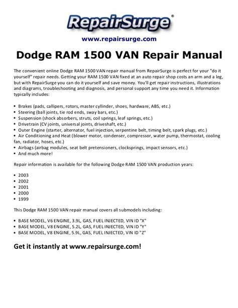 online service manuals 2003 dodge ram van 3500 electronic toll collection dodge ram 1500 van repair manual 1999 2003
