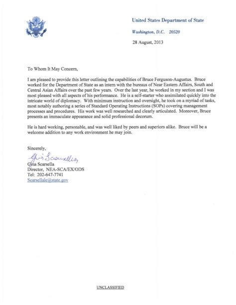Recommendation Letter Kellogg State Department Letter Of Recommendation