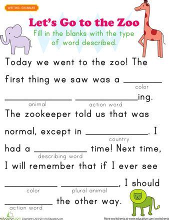 the zoo story themes pdf fill in a funny story 4 worksheets school and language