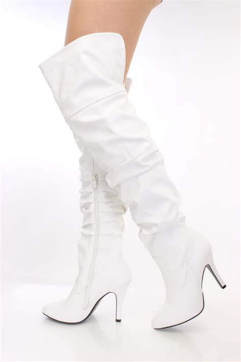 white faux leather thigh high boots boots catalog s