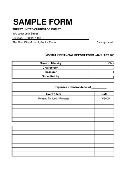 Church Financial Statement Template Excel Free Templates Church Financial Report Template Excel
