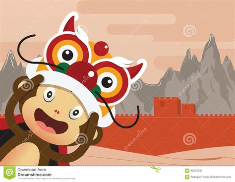 new year character vector monkey character and great wall of china