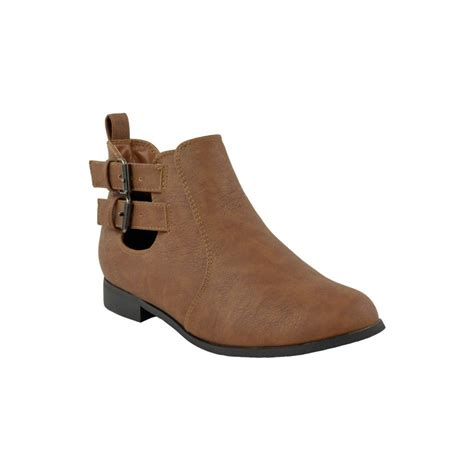 flat boot shoes flat buckle ankle boots