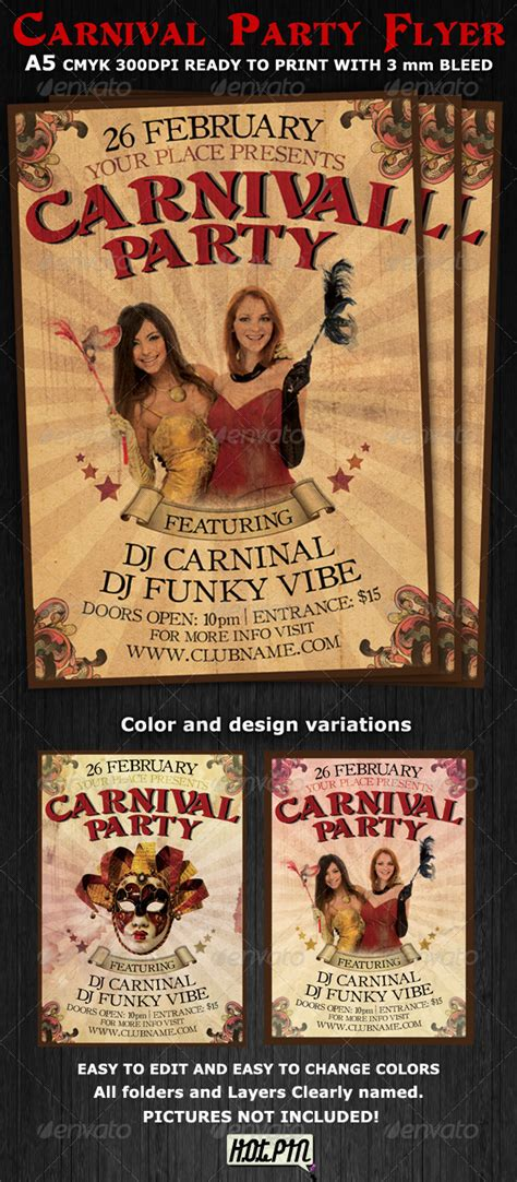 Carnival Club Party Flyer Template V2 Graphicriver Bash Flyer Template V2