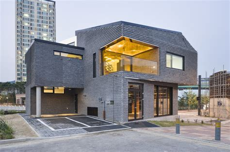 brick house contemporary basalt brick house sustainably built in south korea freshome
