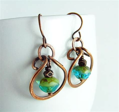 how to make hammered jewelry wire wrapped jewelry copper earrings hammered by