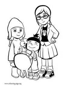 despicable me 2 coloring pages despicable me margo agnes edith and kyle coloring page
