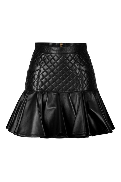 Leather Quilted Skirt by Balmain Leather Quilted Skirt With Flared Hem In Black Lyst