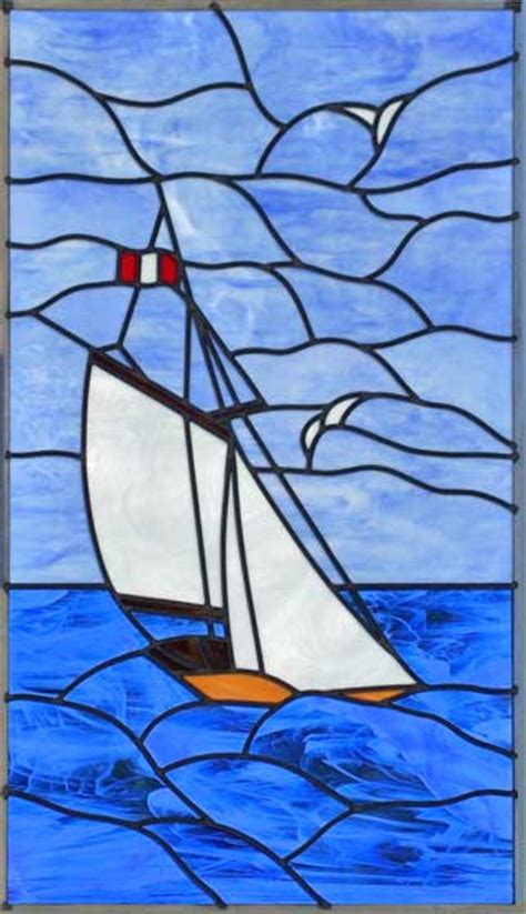 Sailboat Windows Designs Sboat Leaded Stained Glass Sailboat Window Custom Glass Design