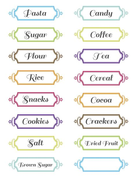 label designs templates printable pantry labels free templates