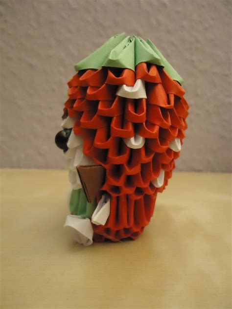3d Origami Strawberry - 3d origami strawberry 2 by mixowelle on deviantart