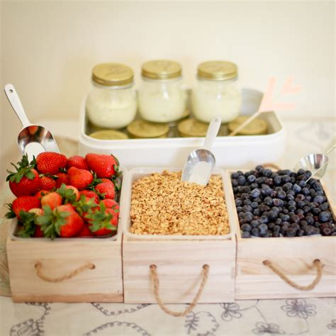 yogurt bar toppings brunch idea yogurt parfait bar