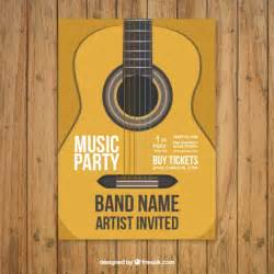 free band poster templates poster template with guitar vector free