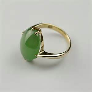 antiques atlas cabochon jade ring 9ct gold size m