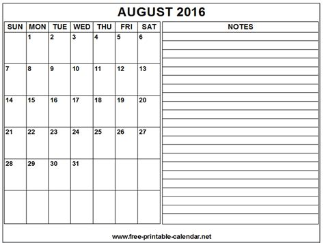 printable calendar 2016 to write notes august 2016 note calendar printable and template