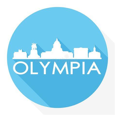 outline olympia washington skyline  blue buildings