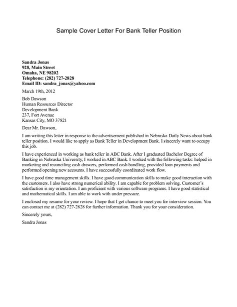cover letter to bank sle cover letter for bank teller position sle