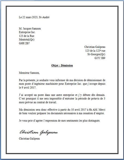 Exemple De Lettre De Démission Simple Sans Préavis Sle Cover Letter Exemple De Fin De Lettre Officielle
