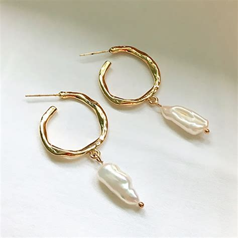 S925 Sterling Silver Hoop Earring aliexpress buy srcoi gold color metal freshwater