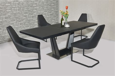 Extending Dining Table And 8 Chairs Matt Black Extending Glass Dining Table And 8 Black Chairs