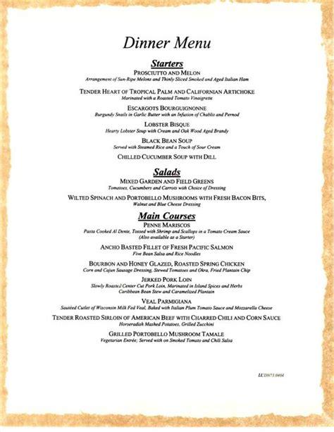 supper menus carnival cruises sle dinner menu 2 carnival cruise