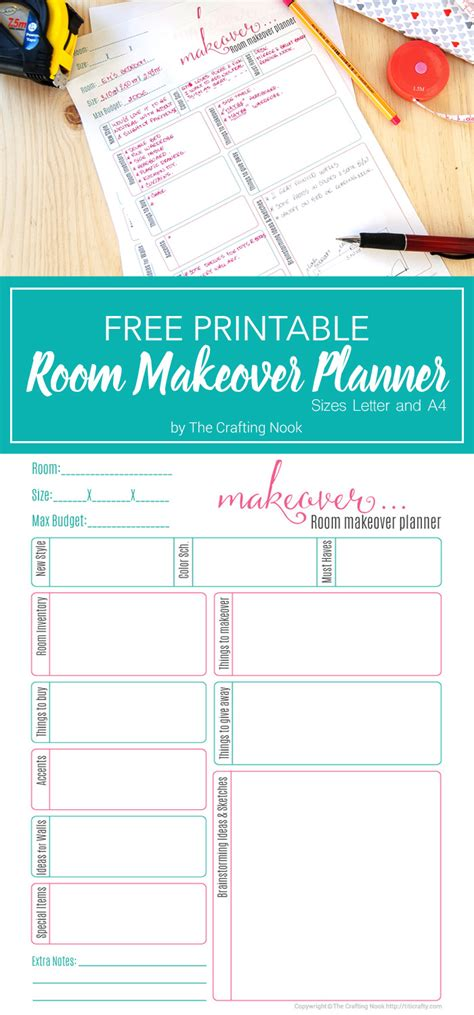 free room planner free room makeover planner printable the crafting nook by titicrafty
