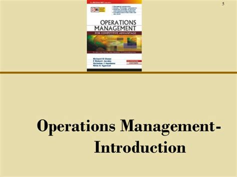 Mba In Operations Management Scope by Ch01 O M Introduction