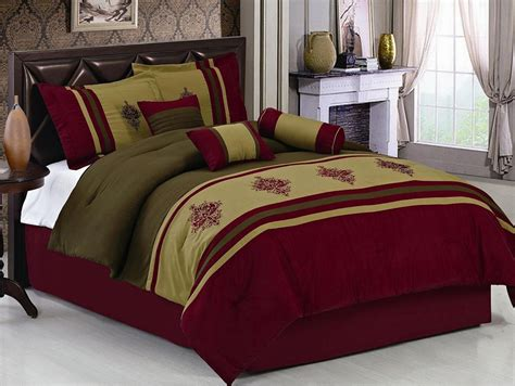 7 piece queen burgundy embroidered medallion comforter set