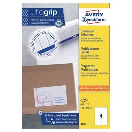 Etiketten Drucken Avery 3483 by Universal Etiketten Avery Zweckform 3483 105x148mm 100