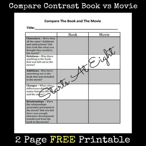 compare and contrast picture books free printable compare contrast book vs startsateight