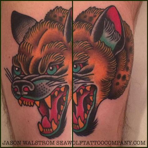 hyena tattoo colorful hyena by seawolftattoocompany