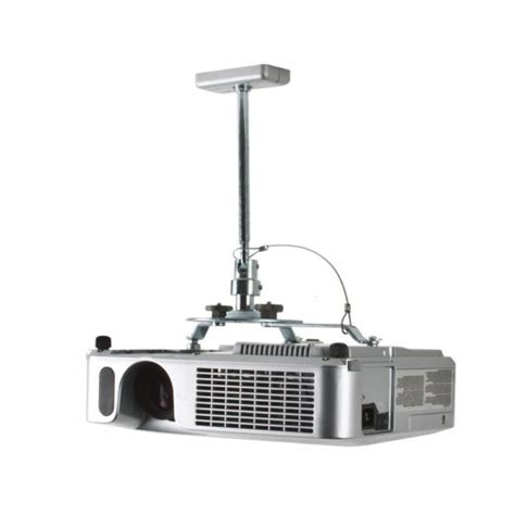 B Tech Projector Ceiling Mount With Short Drop Silver Drop Ceiling Projector Mount