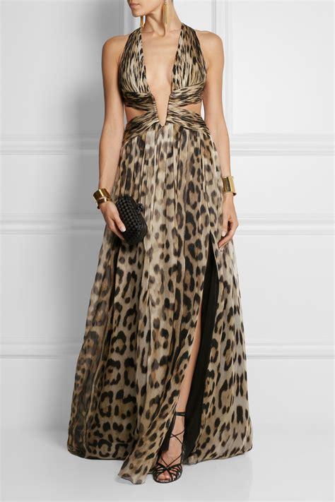 Zara New Leopard Printed Silk Dress Size S Eur lyst roberto cavalli cutout leopard print silk chiffon gown