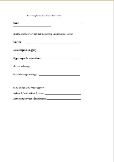 voorbeeldbrief onbetaald verlof werkgever formulier bijzonder verlof