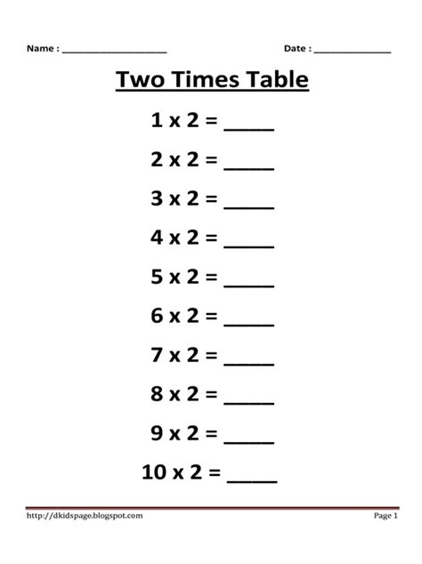 Multiplication Worksheets 0 2 by Page 2 Times Multiplication Table Worksheet